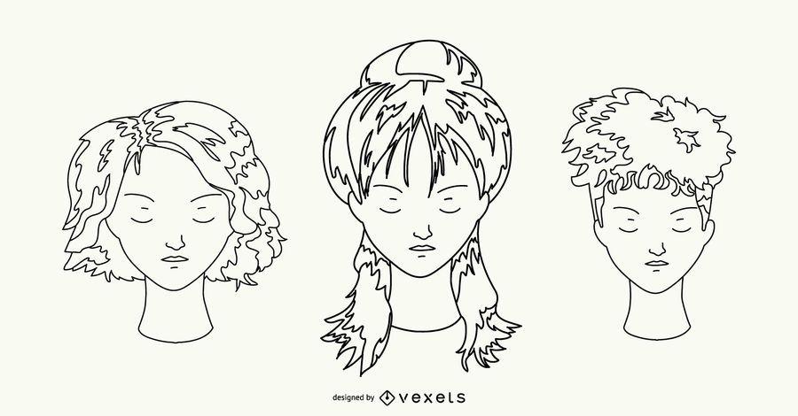 Hairstyle Hand Drawn Set