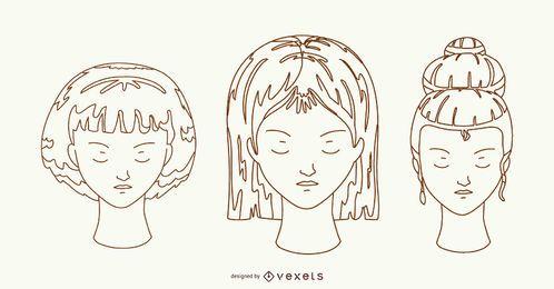 Frisuren Hand gezeichnetes Design