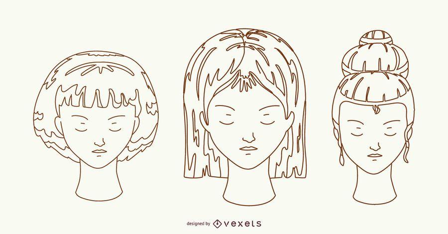 Hairstyles Hand Drawn Design