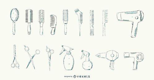 Hair Salon Tools Stroke Design