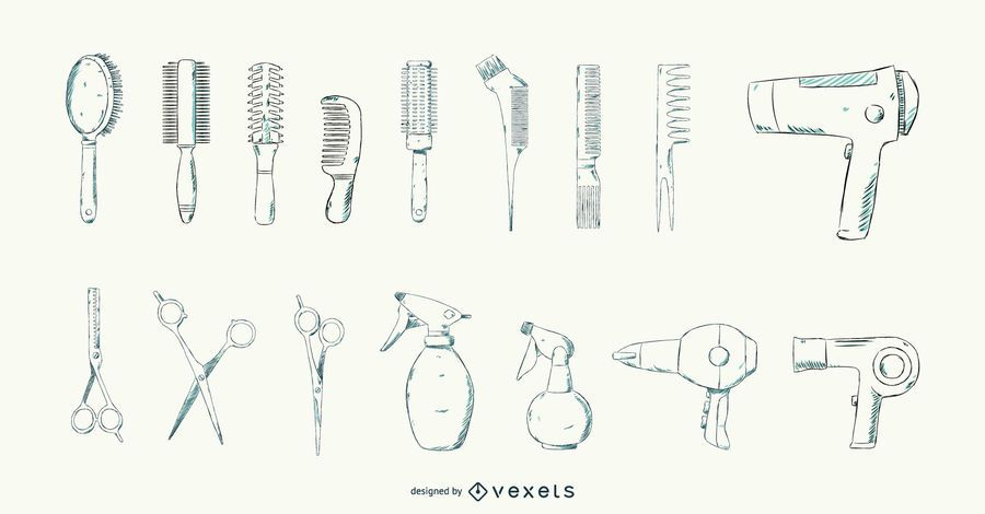 Hair Salon Tools Stroke Design