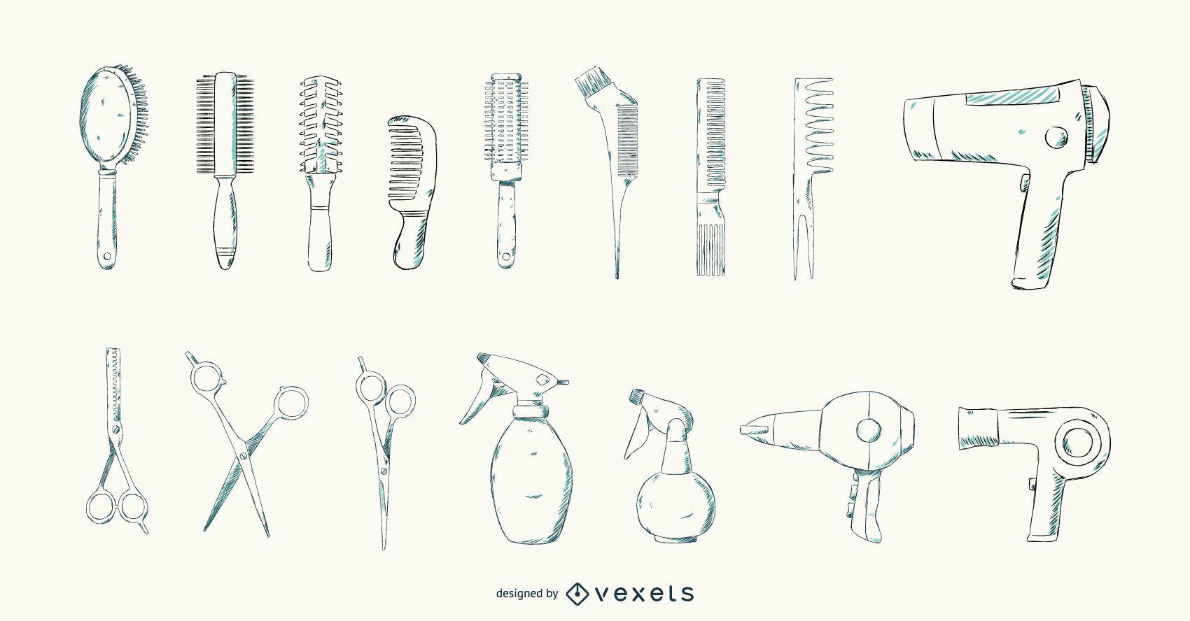 Amazing Hair Salon Tools Stroke Design Vector Download Home Interior And Landscaping Eliaenasavecom