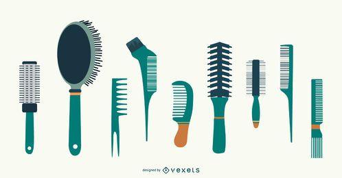Conjunto de vetores de pentes de cabelo