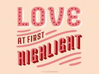 Amor no primeiro design de letras de destaque