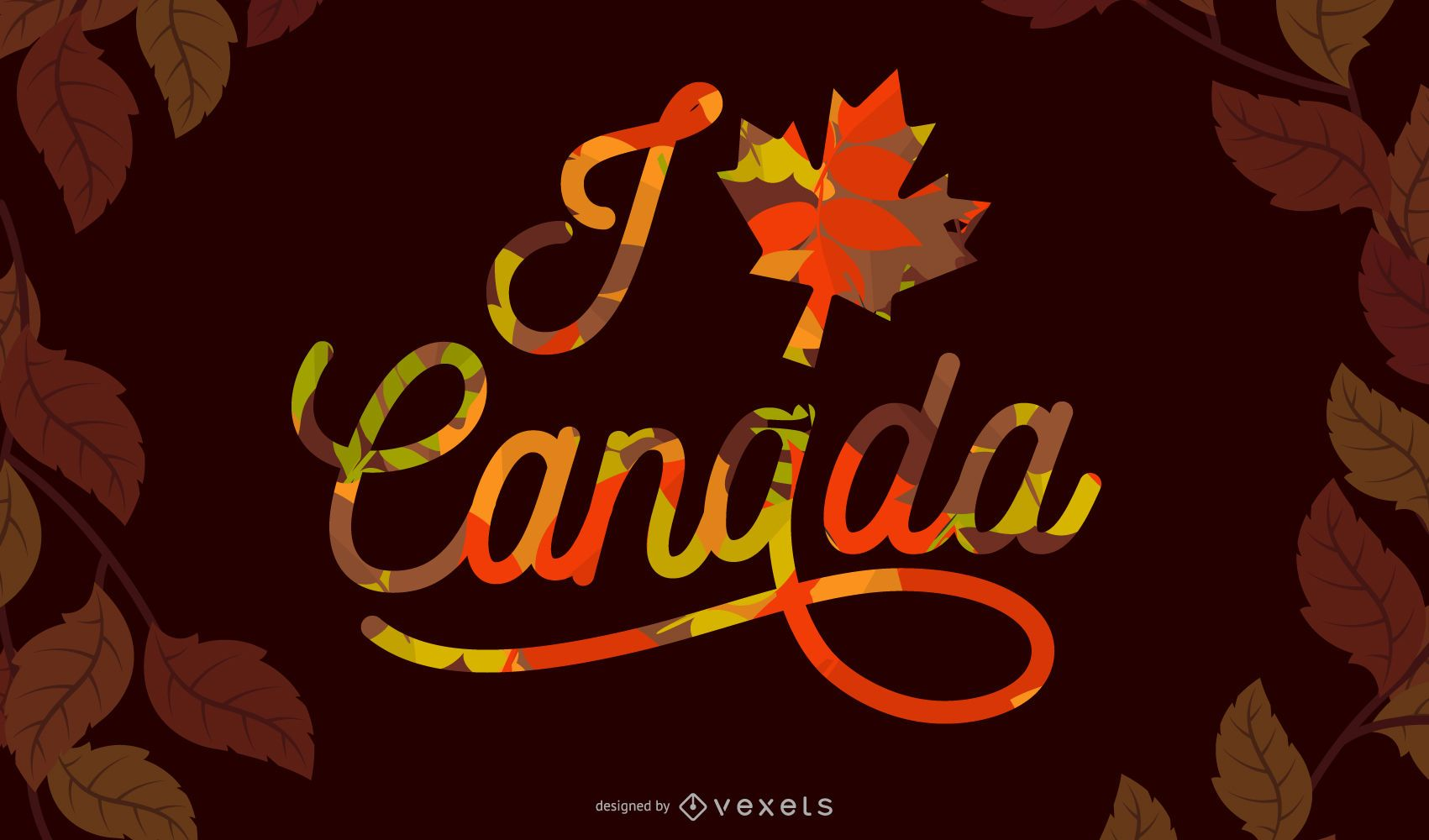 I Love Canada Lettering