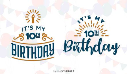Birthday themed lettering set