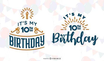 Conjunto de letras com tema de aniversário