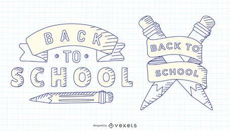 Volta para escola mão desenhada rótulo conjunto