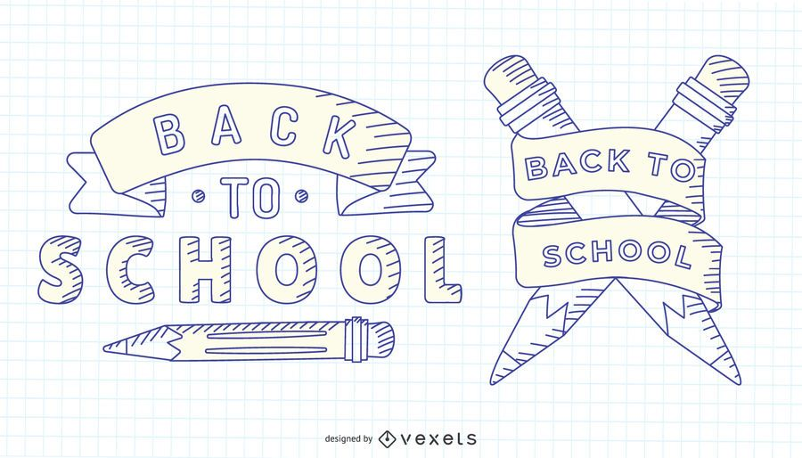 Back to school hand drawn label set