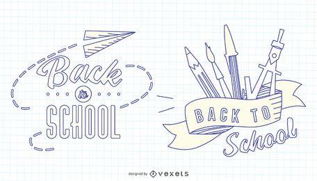 Zurück zu Schule Schlaganfall Badge Set
