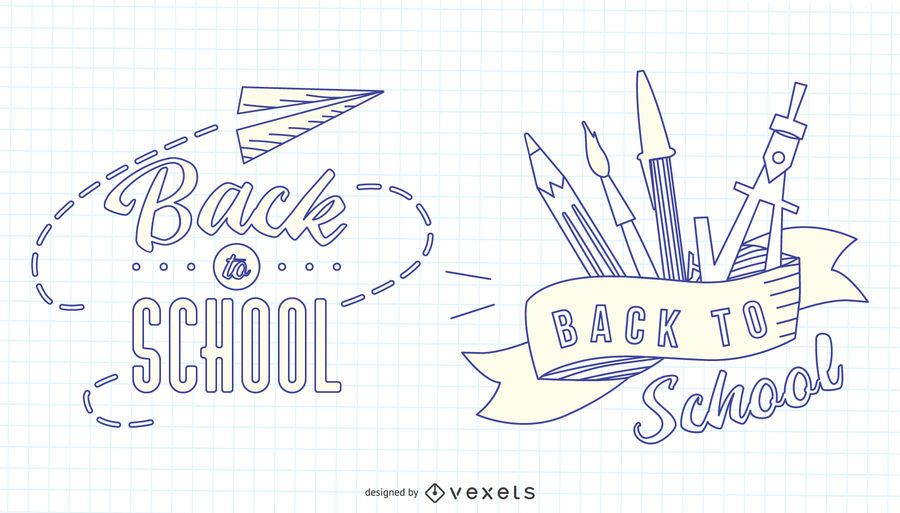Back to School Stroke Badge Set