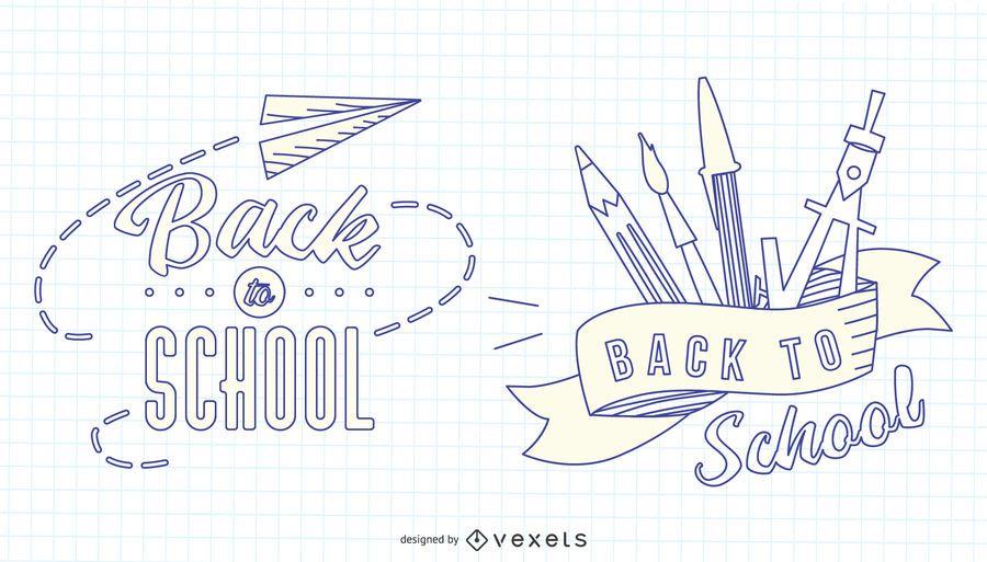 Volta para escola Stroke Badge Set