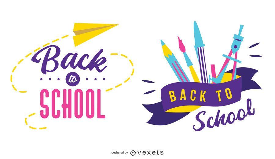 Zurück zu Schule-Abzeichen-Design-Set