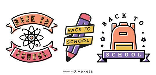 Zurück zur Schule Vektor-Grafiksatz