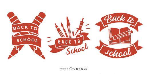 Conjunto de emblema de volta à escola