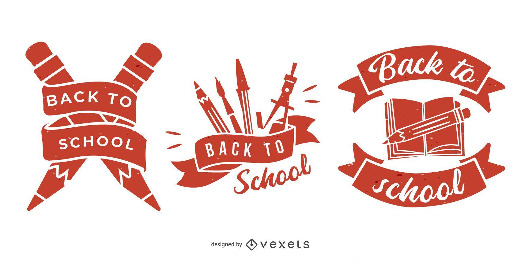 Conjunto de emblemas de regreso a la escuela