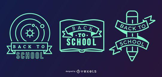 Conjunto de etiquetas de escuela verde negro