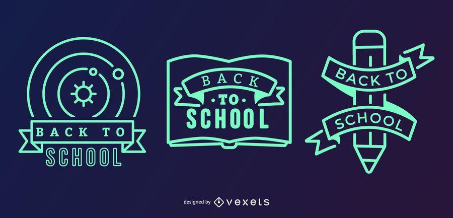 Black Green School Label Set