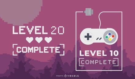 Design de letras completo de nível de jogo