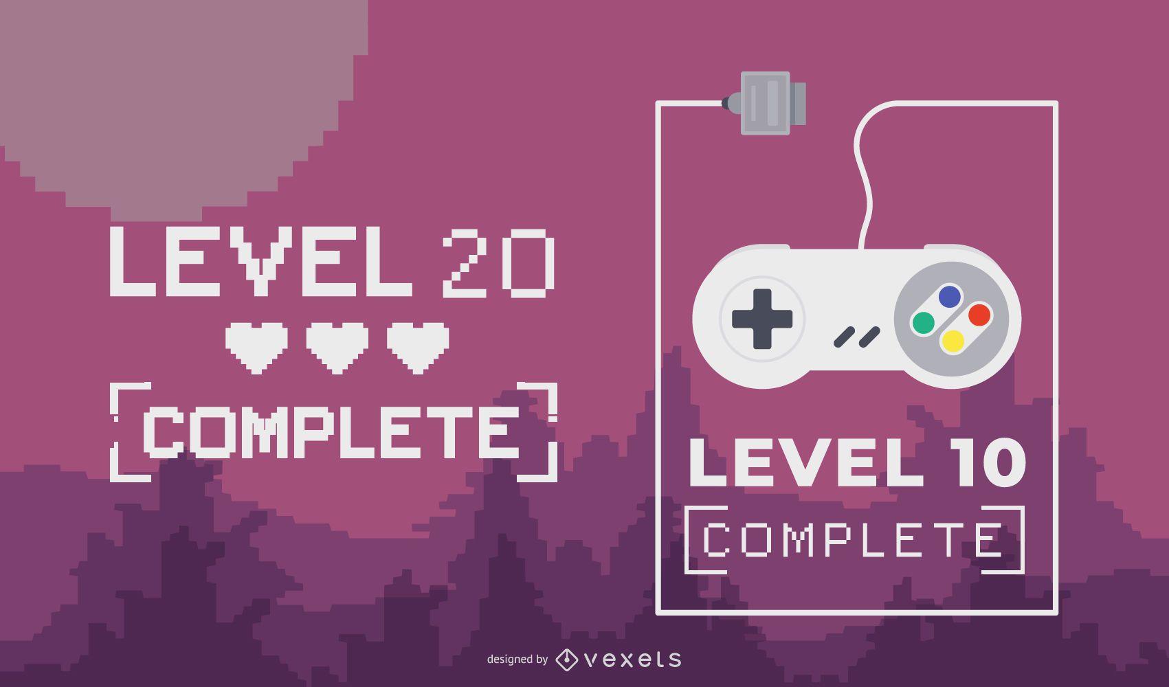 Diseño de letras completo de nivel de juego
