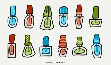 Set de dibujos animados de esmalte de uñas