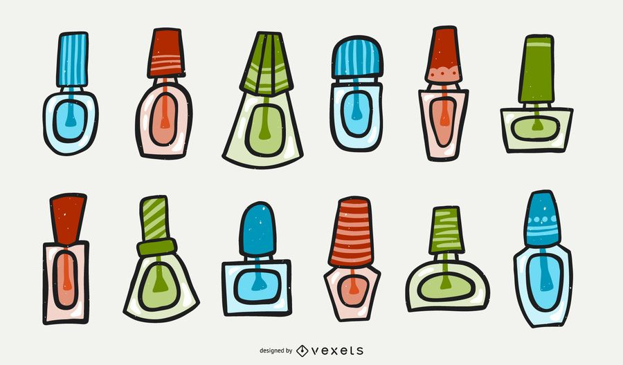 Nail polish Cartoon Set