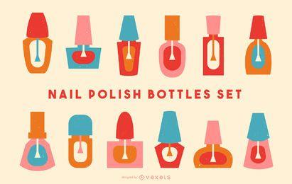 Conjunto de vectores de botellas de esmalte de uñas