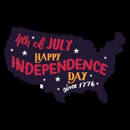 4 de julio feliz día de la independencia desde 1776 etiqueta de la estrella del mapa del país
