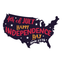 4th of july happy independence day since 1776 country map star sticker