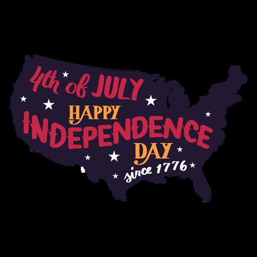4 de julho feliz dia da independência desde 1776 adesivo estrela do mapa do país Transparent PNG