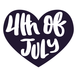 4 de julio pegatina de corazón