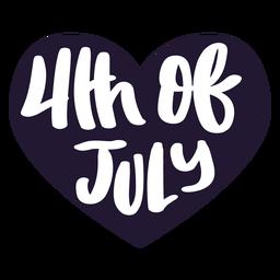 4. von Juli-Herzaufkleber