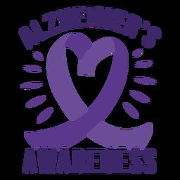 Etiqueta do emblema da fita do coração da consciência de Alzheimer
