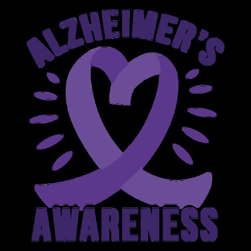 Etiqueta do emblema da fita do coração da consciência de Alzheimer Transparent PNG