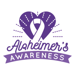 Alzheimer's awareness ribbon heart badge sticker