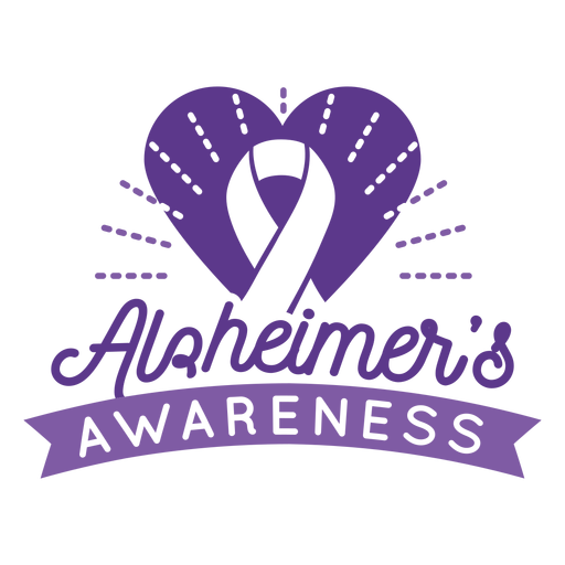 Alzheimer's awareness ribbon heart badge sticker Transparent PNG