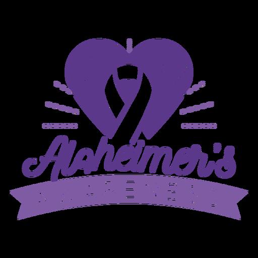 Alzheimer's awareness ribbon heart badge sticker