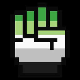 Aromantic Agender mano dedo puño raya pixel plana