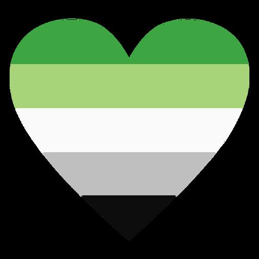 Aromantic agender heart stripe flat Transparent PNG