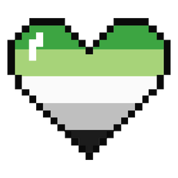 Aromantic agender coração listra pixel plano