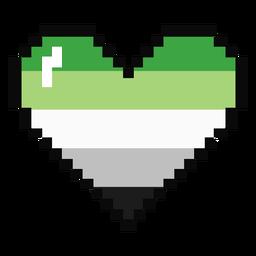 Aromantic Agender Herz Streifen Pixel flach