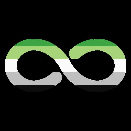 Aromantic agender infinity stripe flat Transparent PNG