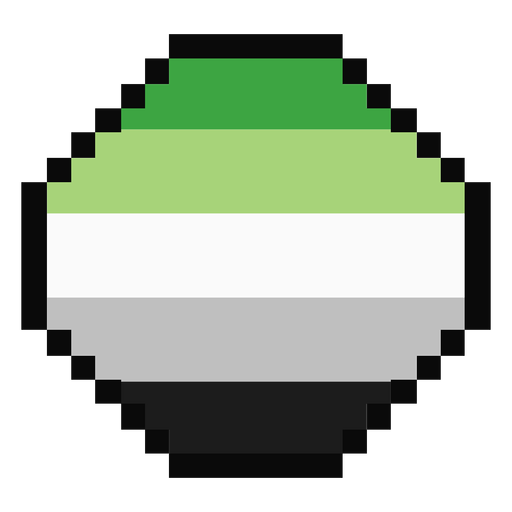 Aromantic agender octagon stripe pixel flat Transparent PNG