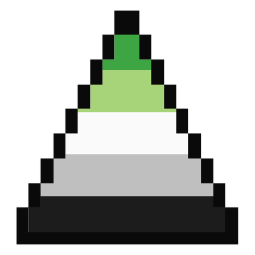 Aromantic agender triangle stripe pixel flat Transparent PNG