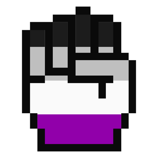 Asexual hand finger fist stripe pixel flat Transparent PNG