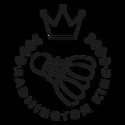 Badmington king volante corona rama insignia trazo