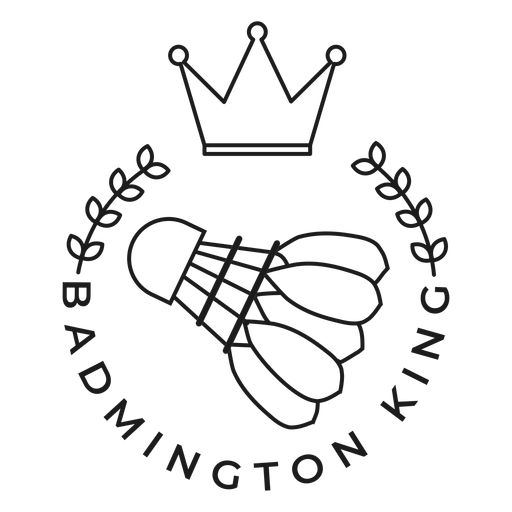 Badmington king shuttlecock crown branch badge stroke Transparent PNG