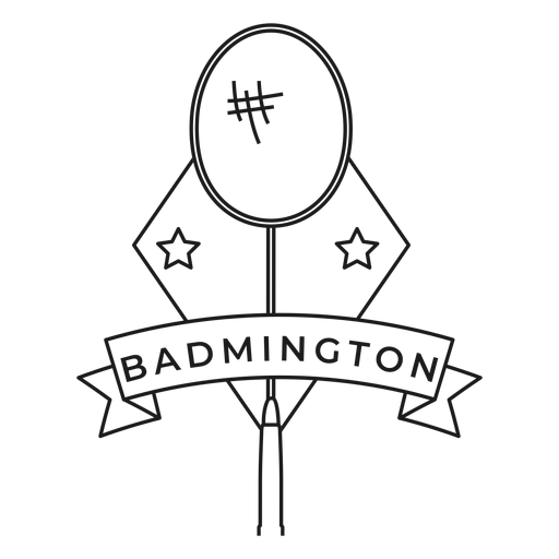 Badmington racket star rhomb badge stroke Transparent PNG