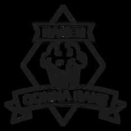 Panadero va a hornear pastel rombo insignia accidente cerebrovascular