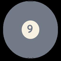 Bola nueve circulo silueta